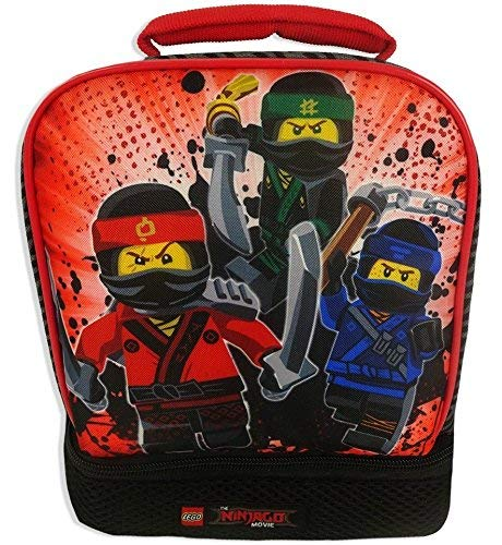 LEGO 34902 The Ninjago Movie Three Ninja Dual Compartment Lunch Bag, Multicolor - Movie Lunch Box