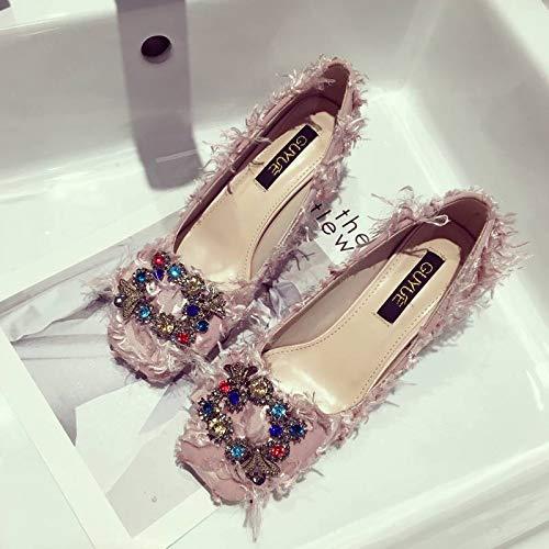 Shoes Heels Fashion Wild Women'S High Pink Autumn Women'S Shoes heels Buckle Yukun With Temperament Rhinestones Single High Buckle HqIv6cqwU