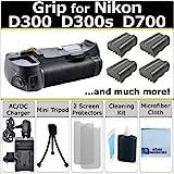 Battery Grip for Nikon D300 D300s D700 DSLR Camera + 4 EN-EL3E Li-Ion Batteries + Car/Home Turbo Charger + Deluxe Starter Kit by eCost (MB-D10 MBD10)