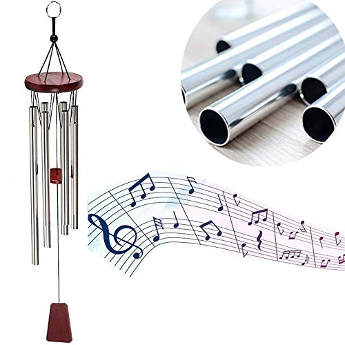 "MeeDoo Beautiful Music Tune Wind Chimes, 28"" Amazing Grace Wind Chimes for Outdoor Garden, Yark, Patio and Home Decoration - 6 Hollow Aluminum Metal Tubes Music Windchime"