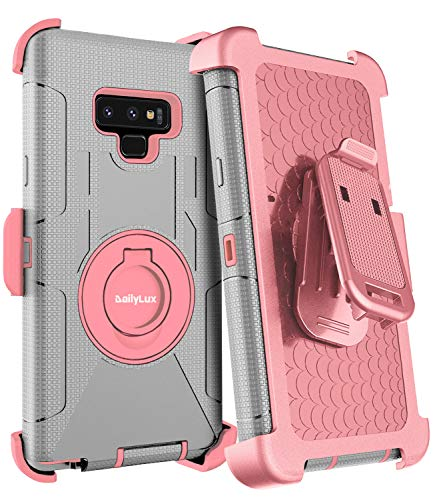 Dailylux Galaxy Note 9 Case,Note 9 Case Belt Clip Heavy Duty Shockproof Swivel Belt Clip Rugged Bumper Hybrid with Kickstand Holster Protective Cover for Samsung Galaxy Note 9,Rose Gold