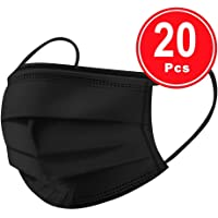 BeAcient Dust Mask, 20PCS/30PCS Disposable Face Mask Industrial 3Ply Ear Loop Mouth Muffle Shield Mask For Running, Cycling, Ski, Motorcycles, Outdoor Acitvities (Black,20PCS)
