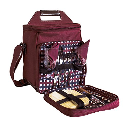 11 Pc Two Person Wine and Cheese Insulated Picnic Cooler Bag Set, Red