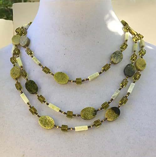 Amazon.com: Avocado green serpentine necklace, Natural ...  Amazon.com: Avo...