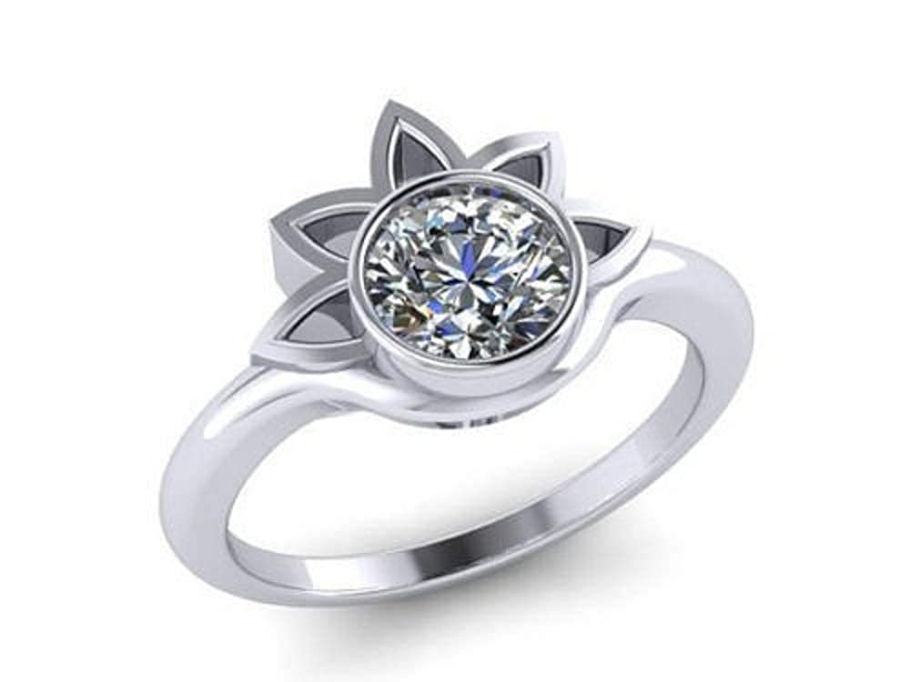 Eshita 7 MM Diamond 925 Sterling Silver Solitaire Engagement Wedding Lotus Shaped Ring