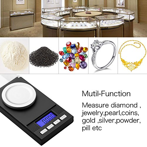 Zilink Digital Milligram Pocket Scale 50g / 0.001g Pro Jewelry Lab Carat Powder Scale with Back-lit LCD Display Auto Off Tare Function Batteries Included by Zilink (Image #4)