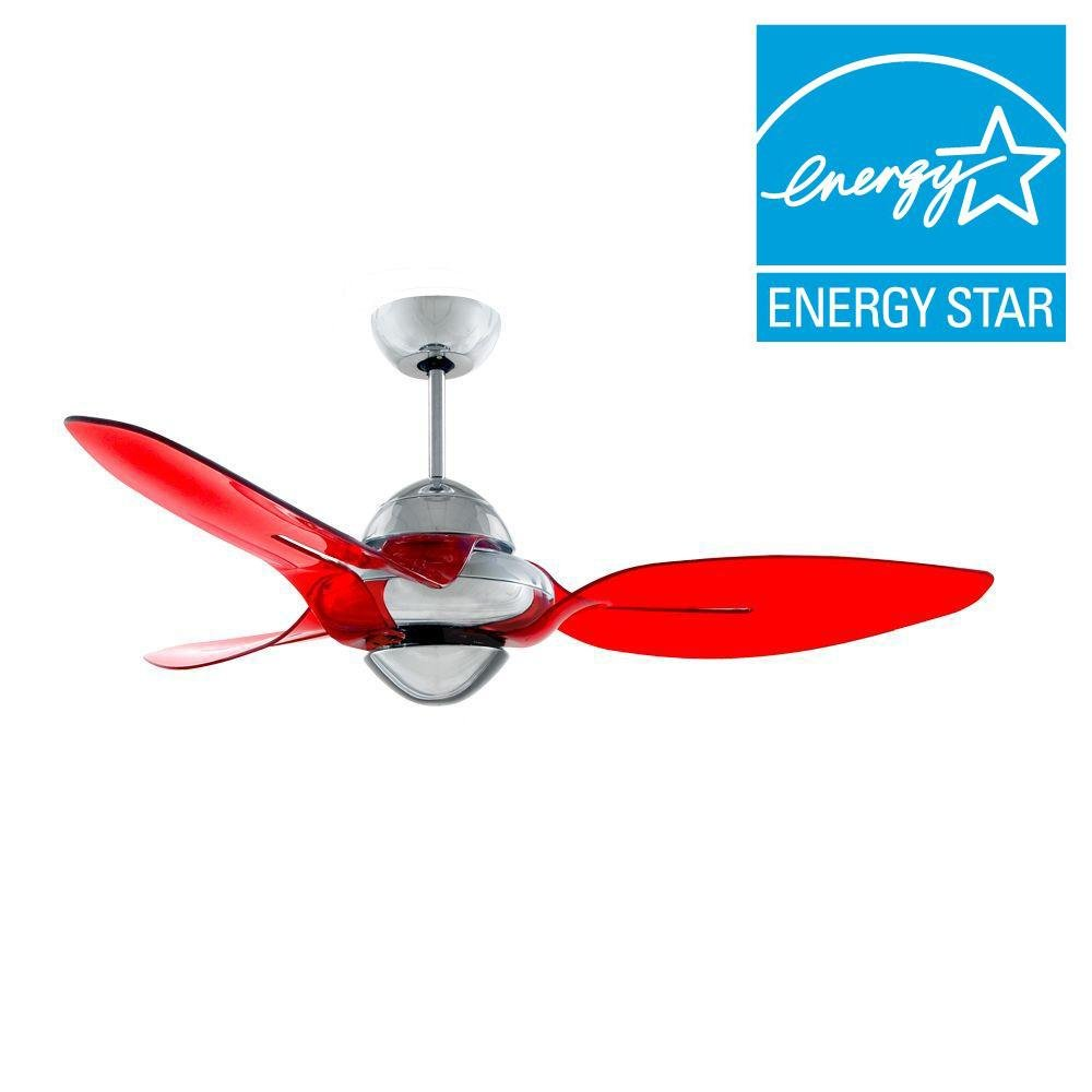 Indoor chrome ceiling fan with 3 translucent red blades amazon com