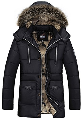Polyester Pocket Warm Jacket Black Winter Sleeves Fur Mens Long Removable Multi WS668 Hooded Coat Multi Cotton Function Collar RpOnFq