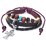 Real Spark Braided Leather Wood Colorful Beaded Silvery Croatia Cross Religious Charm Wrap Bracelet