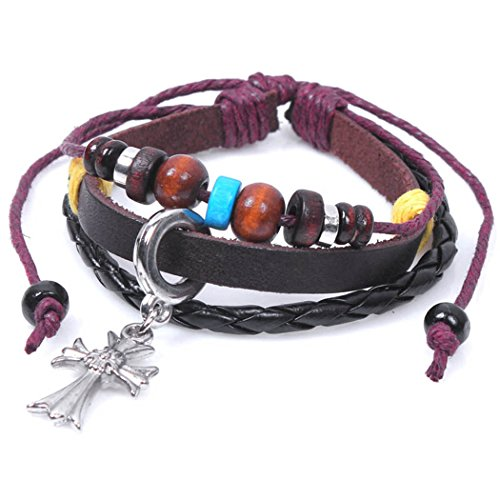 Real Spark Braided Leather Wood Colorful Beaded Silvery Croatia Cross Religious Charm Wrap (Funny 3 Person Costume Ideas)