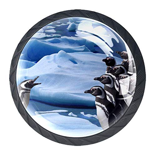 Penguin 09 Drawer Knobs 4 Pieces Cabinet Handle Glass Surface Elegant Round Knob for Home or Office 1.38×1.10IN