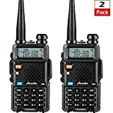 Ansoko Dual-Band Two Way Radios Long Range Walkie Talkies Rechargeable UHF/VHF Portable 2 Way Radio LCD Display (2 Pack)