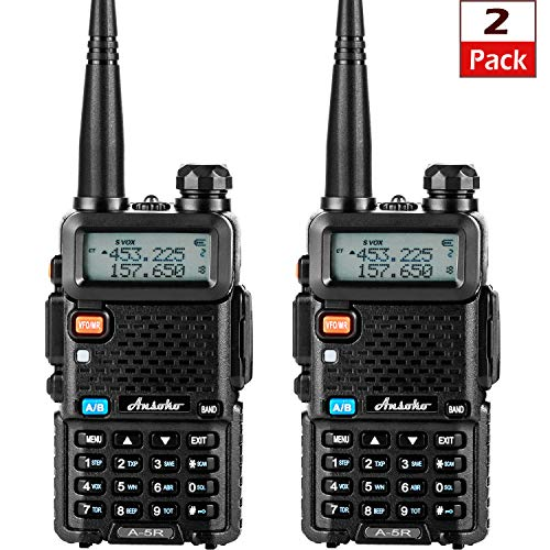 Ansoko Dual-Band Two Way Radios Long Range Walkie Talkies Rechargeable UHF/VHF Portable 2 Way Radio LCD Display (2 Pack) (Walky Talky Marine Band)