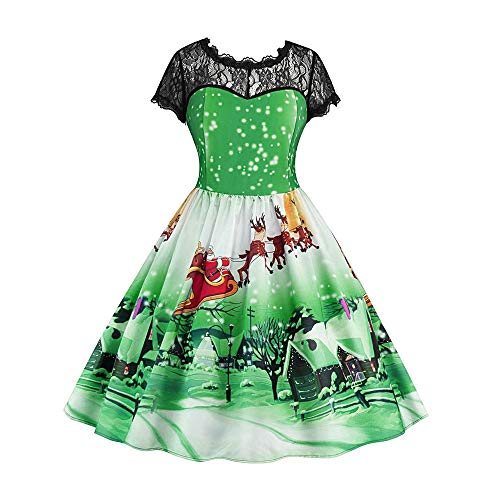 Christmas Dresses, Women Lace Splice Short Sleeve Snow Print Vintage Swing Dress Rakkiss -