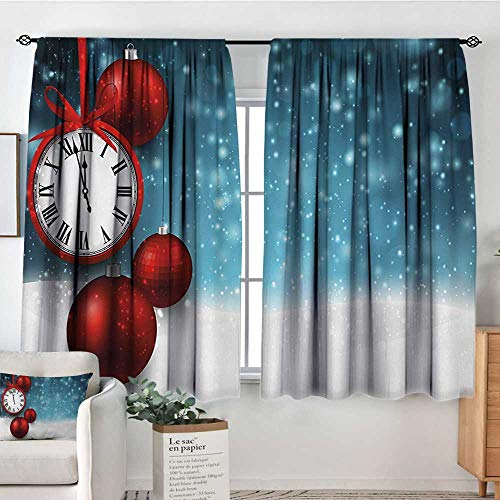 Bedroom Curtains Clock,New Year Themed Christmas Balls and a Vintage Clock Background with Snowflakes,Red and Blue,Insulating Room Darkening Blackout Drapes 42