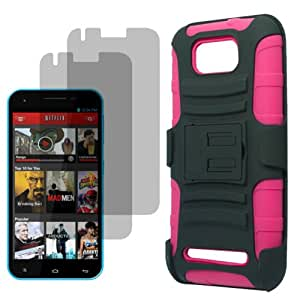 BW Shield Case Holster for AT&T, T-Mobile, H2O, Net 10 Blu Studio 5.5 x2 Fitted Screen Protector-Magenta Pink