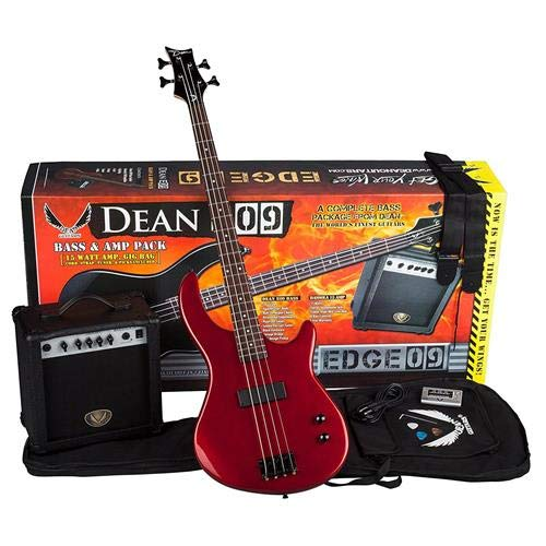 Dean Edge 09 Bass and Amp Pack with Metallic Red Dean Edge 09 Bass Guitar, Bass Amp, Gig Bag, Tuner, Cord, Strap, and Picks -