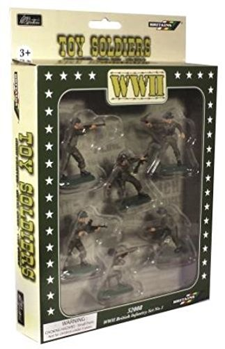 (W Britain Super Deetail Toy Soldiers 52008 WWII British Infantry 6 Piece Set No.1 in GIFT BOX Collectible Toy Soldier 1/32 Scale Painted Figures)