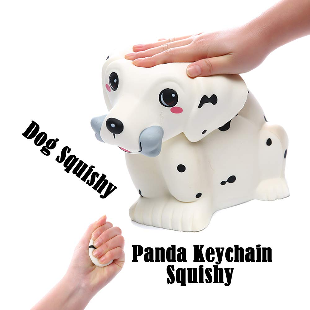 Sinofun 12 Inch Giant Dalmatian Dog Squishy, Large Puppy Animal Scented Squishies Package, Cute Panda Slow Rising Keychain, Soft Stress Relief Toys, Fun Party Favor/Birthday Gifts for Boys/Girls/Kids by Sinofun (Image #5)
