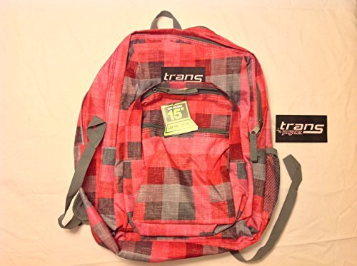Jansport Trans Supermax Varsity Red Coral Textured Plaid Daypack School Backpack