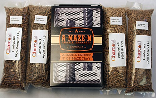 A-MAZE-N Products Pellet Smoker Combo Pack Includes 1 lb Each of Lumber Jack 100% Cherry, Hickory, Mesquite & 1lb Apple Blend, 5
