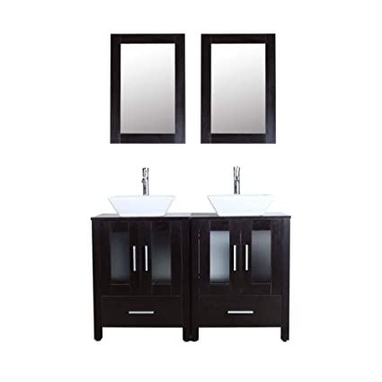 Pleasing 48 Black Bathroom Vanity Cabinet Double Sink Combo W Mirror Faucet And Drain Ceramic Sink Download Free Architecture Designs Scobabritishbridgeorg
