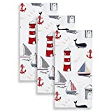 Cackleberry Home Nautical Ocean Kitchen Towels 100% Cotton, Set of 3