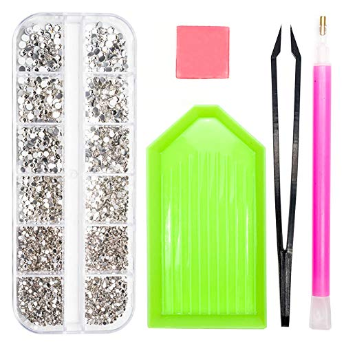 SS4-SS12 Charms Gems Nails Diamonds Stone, Crystals Glass Nail Art Rhinestones, 1.5mm-3.5mm Flat Back Round Beads With Storage Organizer Box/Picker Pencil/Glue for Crafts Face Art Clothes Shoes ()