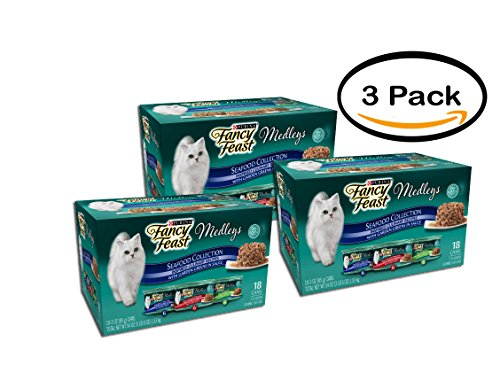 PACK OF 3 - Purina Fancy Feast Medleys Seafood Collection Cat Food 18-3 oz. Cans