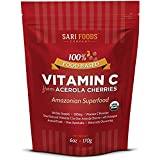 Natural Vitamin C Complex Powder from Organic Acerola Cherries (6oz): Pure, Plant based, Non-synthetic nutrition. Nature's daily whole foods antioxidants and bioflavonoids.