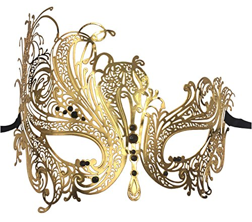 Luxury Mask Women's Swan Metal Filigree Laser Cut Venetian Masquerade Mask, Gold/Black Stones, One Size