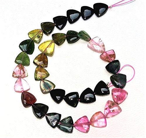 GemAbyss Beads Gemstone Watermelon Tourmaline Smooth Beads, Triangle Shaped Beads, Smooth Triangle,7 mm - 8 mm, 9.5 inch Strand - 9.5 Inch Strand