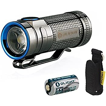 Olight S MINI Cree XM-L2 Cool White 550 Lumens Copper Flashlight The Smallest Side-Switch EDC Flashlight Limited Version SMINI With CR123A Battery and Skyben Holster (S mini (Stainless Steel))
