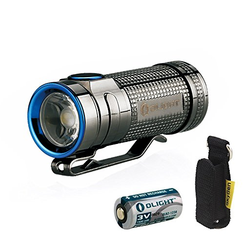 Olight S MINI Cree XM-L2 Cool White 550 Lumens Copper Flashlight The Smallest Side-Switch EDC Flashlight Limited Version SMINI With CR123A Battery and Skyben Holster (S mini (Stainless Steel)) by OLIGHT