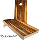 Slick Woody'S Treated Oak Cornhole Set with 8 Cornhole Bags, Baltic Birch Plywood Tops for The Smoothest Flattest Playing Surface, Retractable Legs and Back Bounce Brace