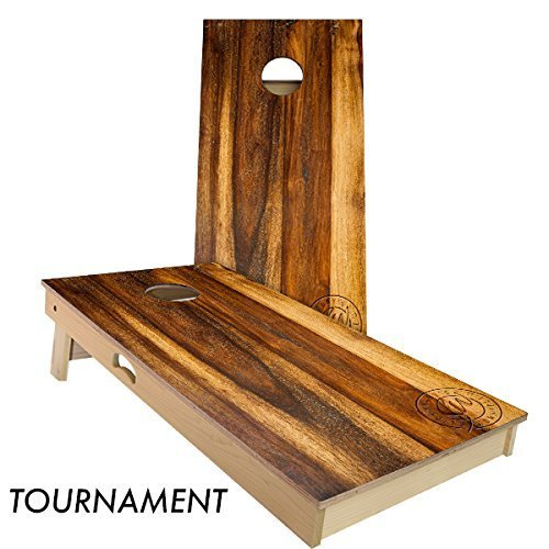 Slick Woody'S Treated Oak Cornhole Set with 8 Cornhole Bags, Baltic Birch Plywood Tops for The Smoothest Flattest Playing Surface, Retractable Legs and Back Bounce Brace (Best Plywood For Cornhole)