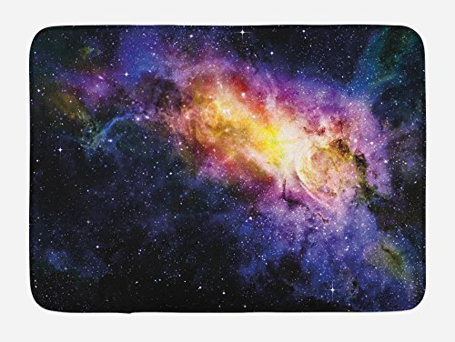 Ambesonne Galaxy Bath Mat, Nebula Gas Cloud in Space Dust Milky Way in Atmosphere Universe Print, Plush Bathroom Decor Mat with Non Slip Backing, 29.5