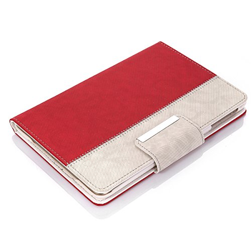 Apple iPad Mini Case isYoung® iPad Mini 1 Wallet Case iPad Mini 2 PU Leather Case iPad Mini 3 Smart Case Stand Cover Leather iPad Mini Case with Stylus + Anti-skid Interior + PU Leather+ Hard PC (Red)