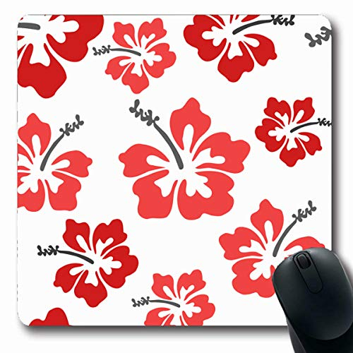 Tobesonne Mousepads Holidays Red Flower Pretty Hibiscus Hawaiian Pattern Hawaii Tropical Beach Aloha Design Leaf Oblong Shape 7.9 x 9.5 Inches Non-Slip Gaming Mouse Pad Rubber Oblong Mat (Wispy Leaf)
