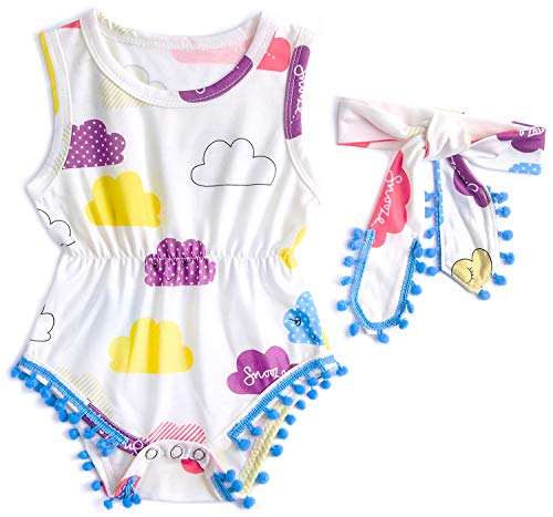 BFUSTYLE Baby-Girls Colored Clouds Design Trip Playsuit Purple Childlike Bodysuit 6-12 Months - Clouds Design