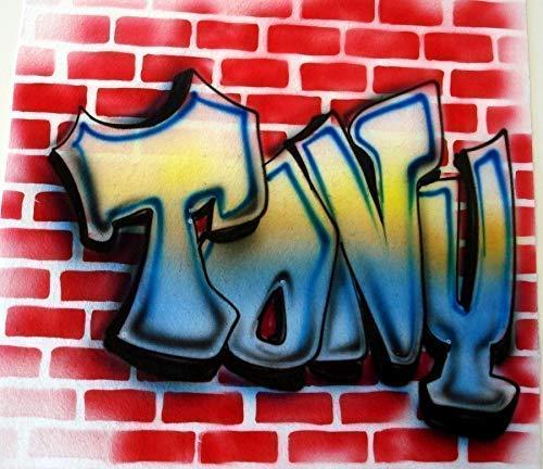 131c73f6 Airbrush Graffiti Brick Wall - Youth/Adult T-Shirt - Custom ... - Amazon.com