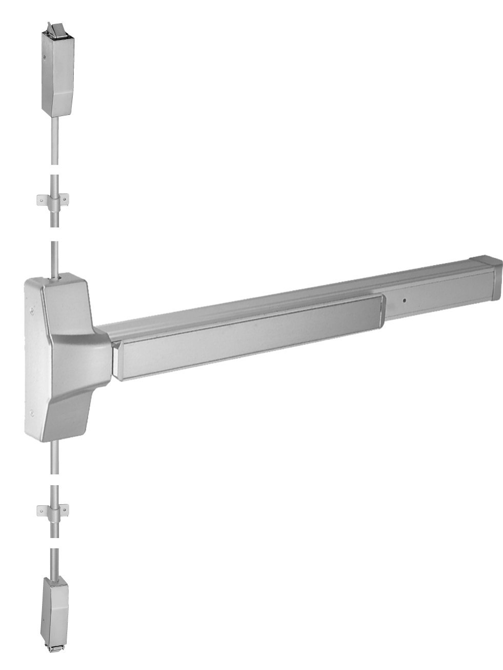 36 Length Independence2 i.2-EDF800GR1V Brushed//Satin Stainless Steel Grade 1 Fire Rated Surface Vertical Rod Exit Device