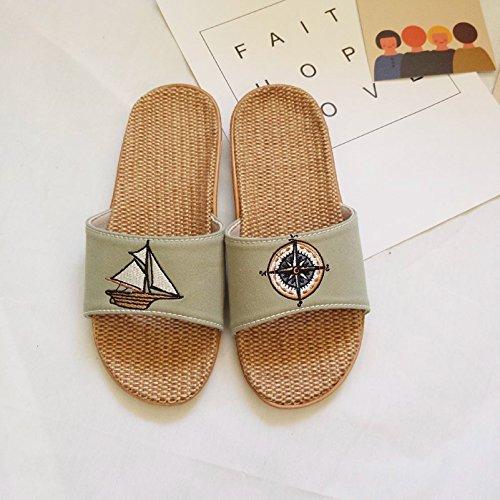 children slip indoor summer boys linen thick seasons dark fankou 38 linen slippers cotton 37 green men's resistant female slippers Girl slippers v5qx6tX