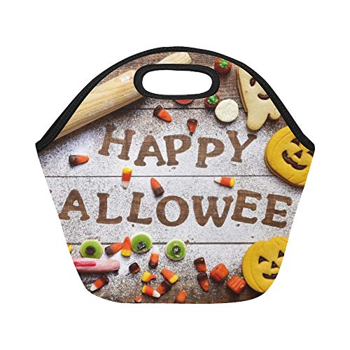 Insulated Neoprene Lunch Bag Highangle Shot Wooden Table Sprinkled Icing Large Size Reusable Thermal Thick Lunch Tote Bags For Lunch Boxes For Outdoors,work, Office, -