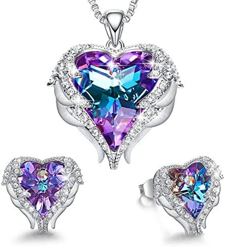 CDE Angel Wing Heart Necklaces and Earrings Mothers Day Jewelry Gifts Embellished with Crystals from Swarovski 18K White Gold Plated Jewelry Set for Women Mom