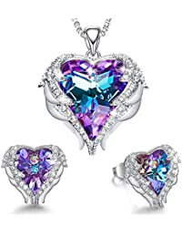 Angel Wing Heart Necklaces and Earrings Valentine's Day Jewelry Gifts Embellished with Crystals from Swarovski 18K White Gold Plated Jewelry Set for Women