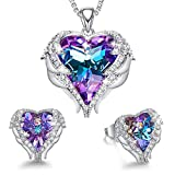 CDE Angel Wing Heart Valentine Jewelry Sets Gift Crystals from Swarovski Set for Women Pendant Necklaces and Earrings Anniversary Birthday Valentine's Day Jewelry Gifts for Women Love: more info