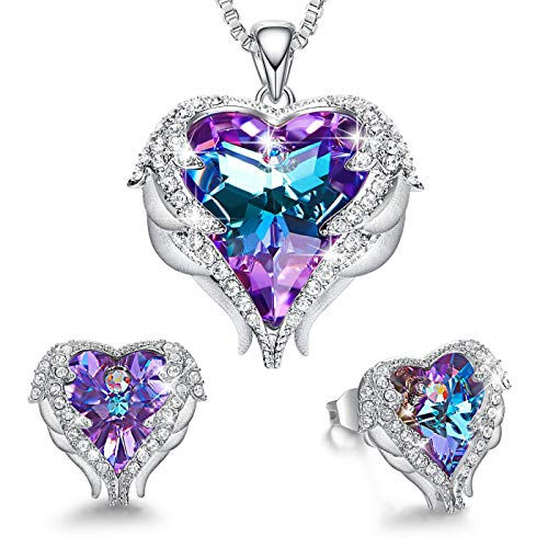 (CDE Jewelry Set for Women Angel Wing Embellished with Crystals from Swarovski Pendant Necklace Heart of Ocean Stud Earrings Gift for Mothers Day )