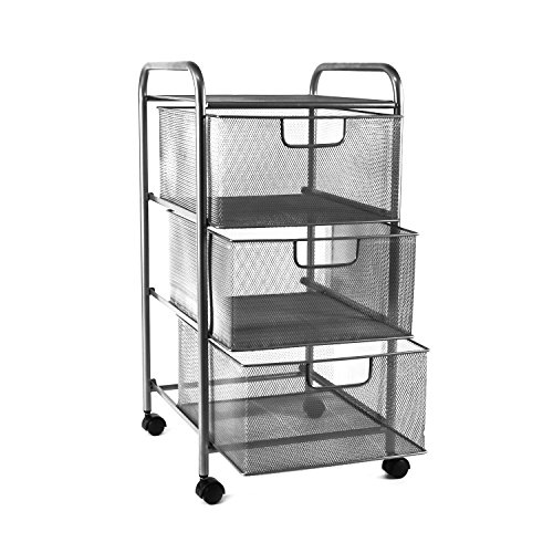 YIMU Mesh File Storage Cart with 3 Drawers, 3 Tier Letter Size Metal Office Supply Rolling Drawer Cart, Silver - Wire Storage Carts