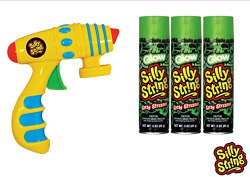 Silly String Spray Streamer Blaster Pack - Silly String Glow in the Dark 3 oz. (3), Silly String Toy Blaster Gun Shooter (1)
